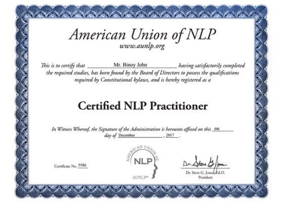 Binoy certified NLP practitioner Cherai Paravoor Kochi Kerala India