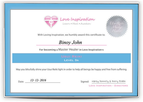 Binoy certified Reiki master healer Cherai North Paravoor Kochi Kerala India