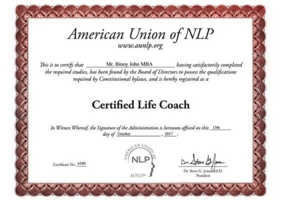 Binoy certified life coach NLP Cherai Paravoor Kochi Kerala India