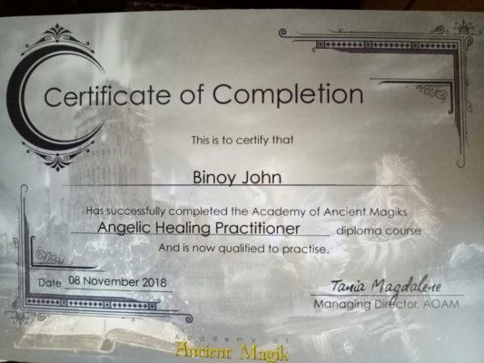 Angelic healing certified practioner in North Paravoor Kochi Kerala India