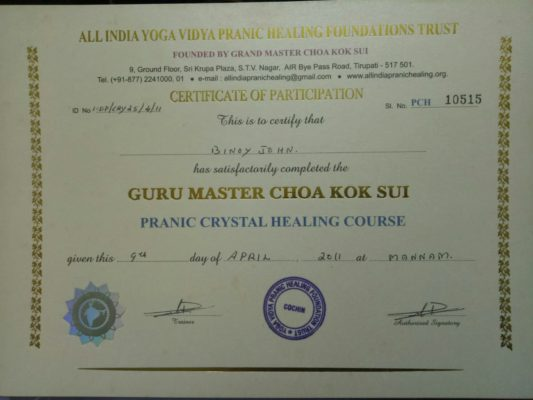 Pranic crystal healing certified in North Paravoor Kochi Kerala India