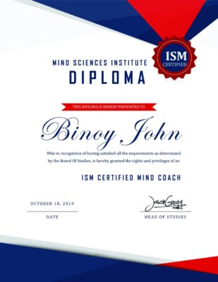 mind sciences institute diploma holder binoy john paravoor